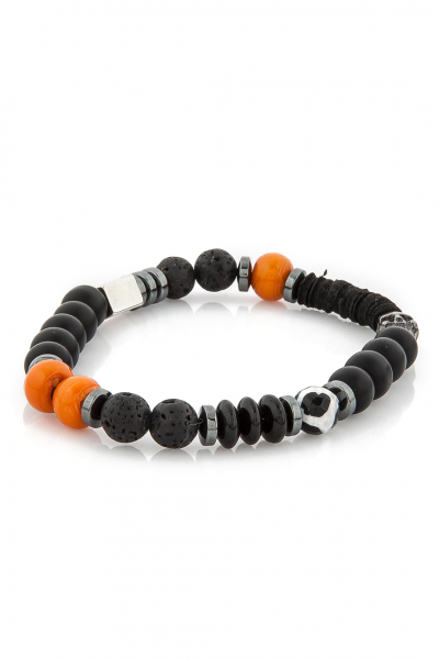 Original Skull Black and Orange Bileklik