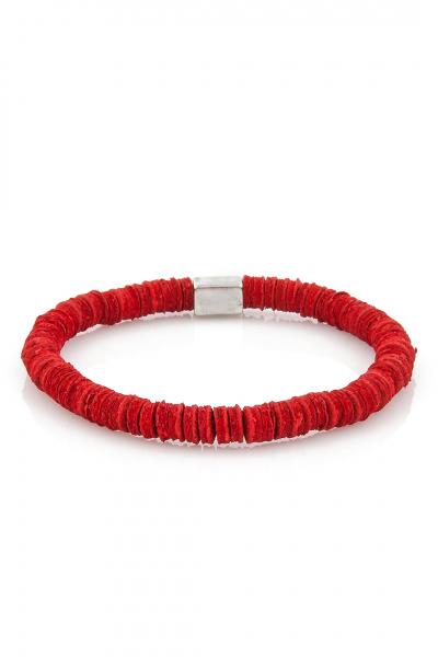Leather Pieces Red Bileklik