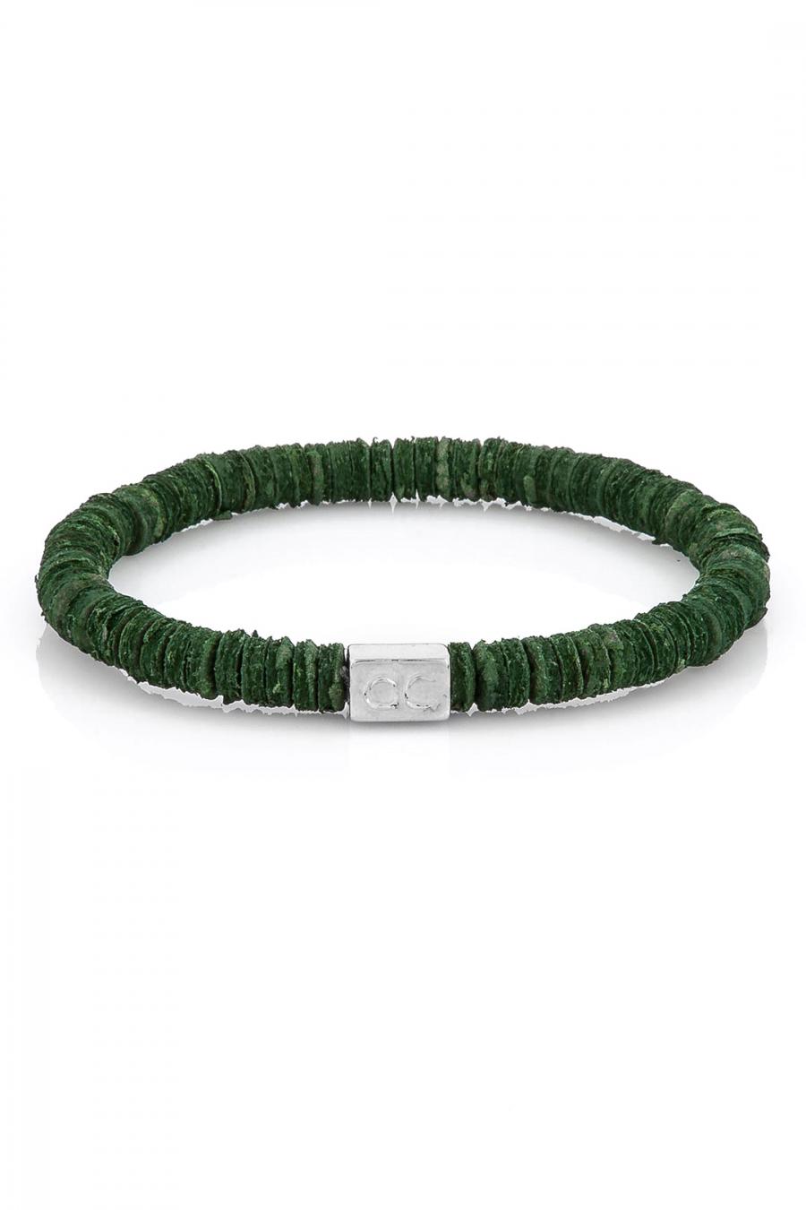Leather Pieces Green Bileklik
