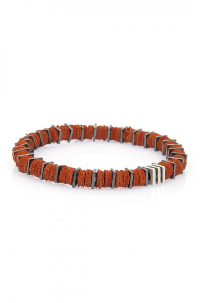 Orange Leather Bileklik