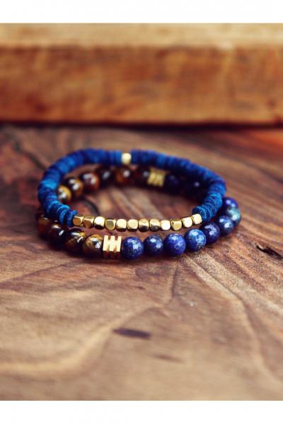 Brown & Blue Gold Bileklik
