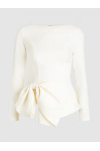 Bow-Embellished Crepe Top
