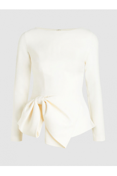 THE MODIST Bow-Embellished Crepe Top