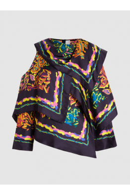 THE MODIST Printed Silk-Twill Scarf Blouse