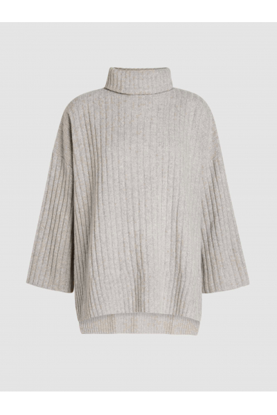 THE MODIST Ribbed-Wool Poncho Sweater