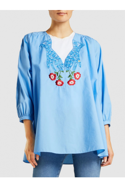 THE MODIST Corriere Embroidered Cotton Blouse