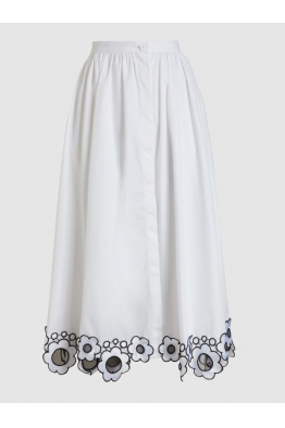THE MODIST Daisy Embroidered Cotton Midi Skirt