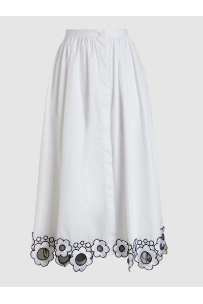 THE MODIST Daisy Embroidered Cotton Midi Skirt
