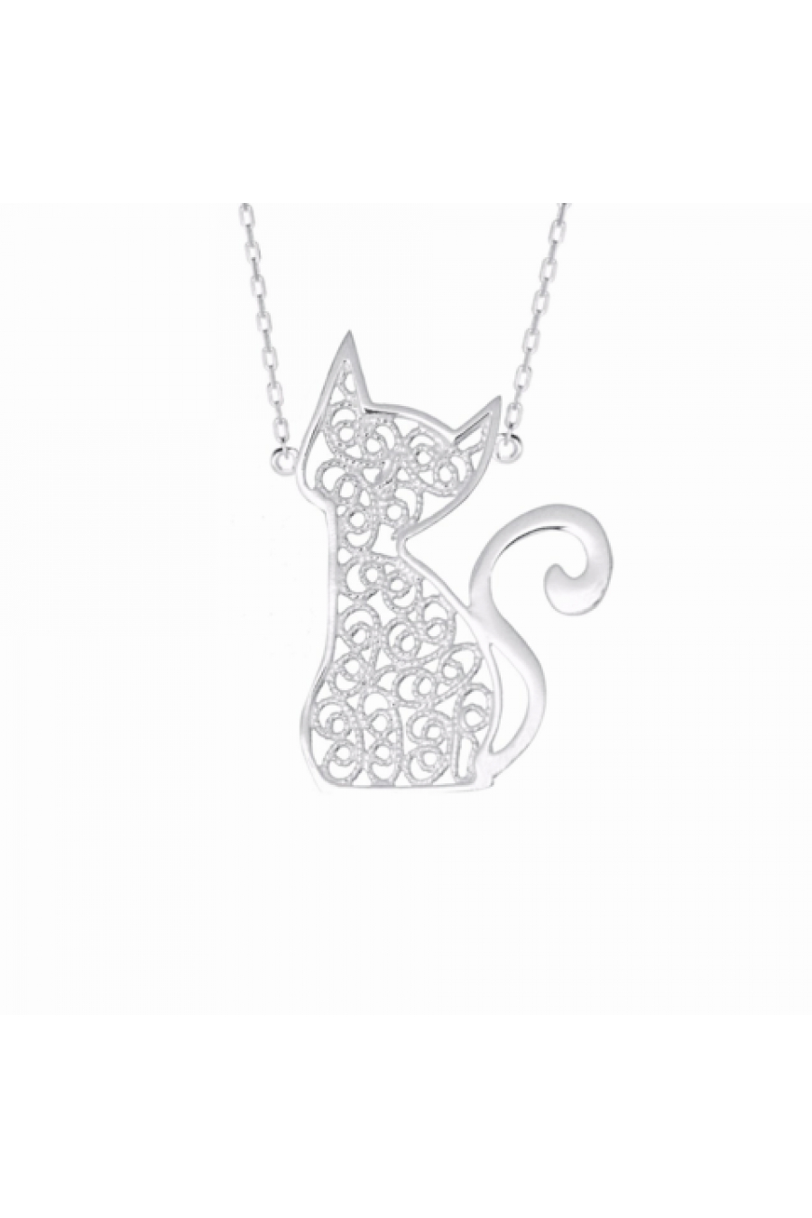 Classy Cat Telkari Kolye - Gümüş