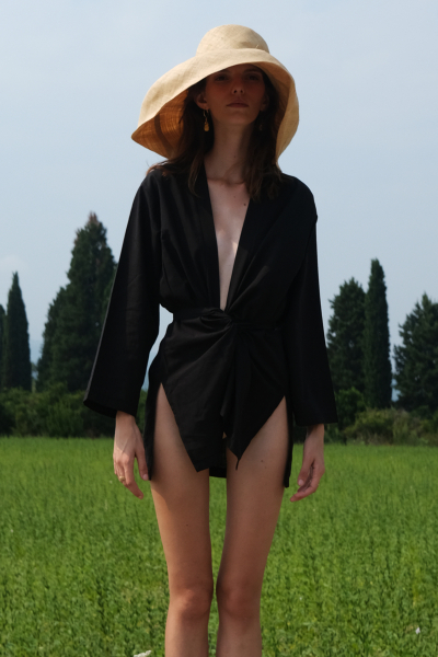 BLACK COTTON WRAP SHIRT