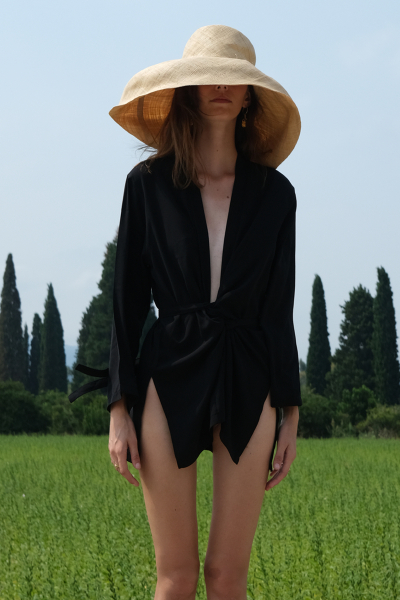 BLACK SILKY WRAP SHIRT