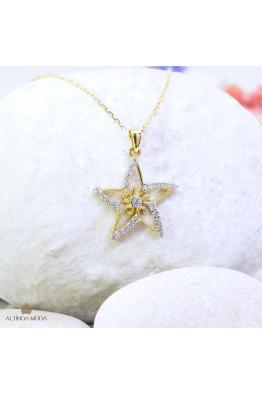 Altında Moda Altın Yıldız Kolye